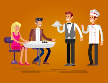 Vector detailed character people in the restaurant