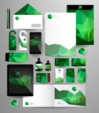 Abstract polygonal business set.
