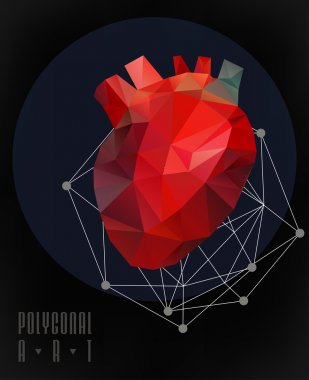 Abstract polygonal heart. low poly illustration. Creative poster clip art vector