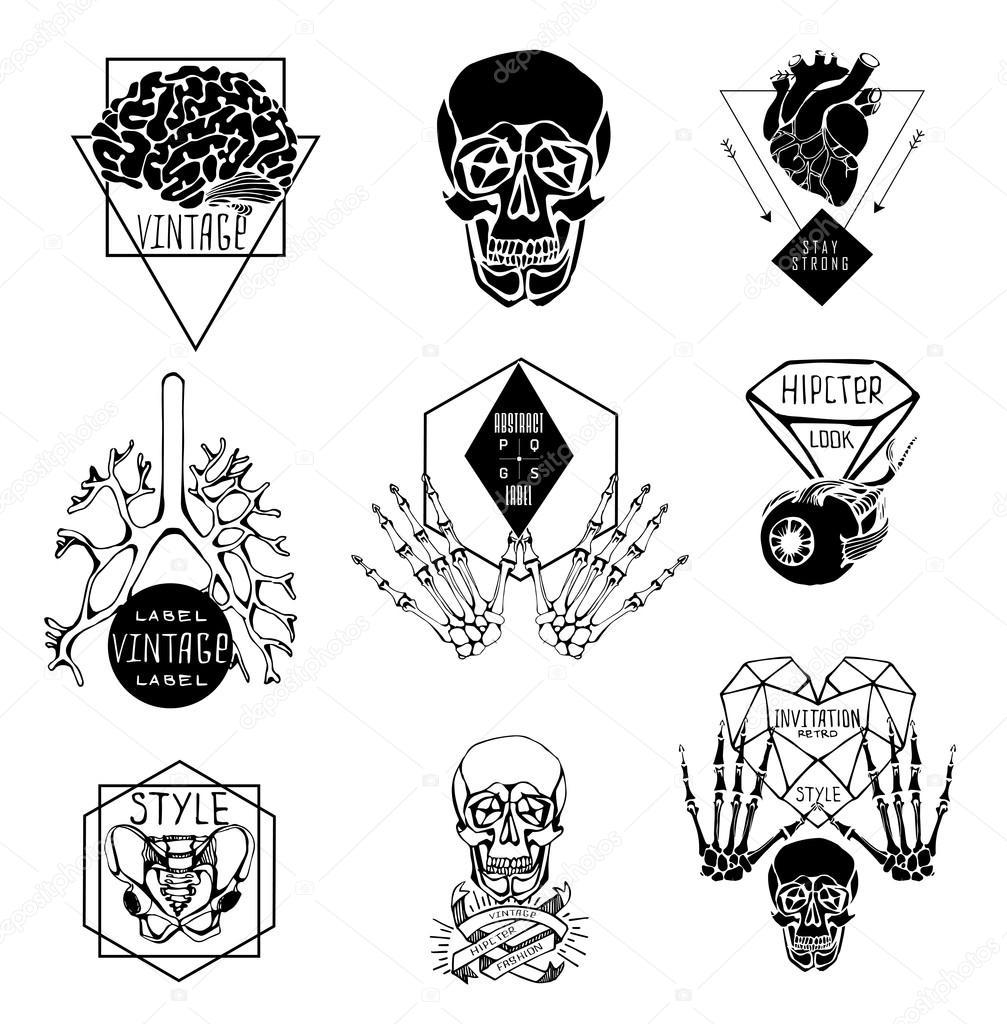 Satz von Etiketten mit Hand Zeichnen menschlichen — Stockvektor ...