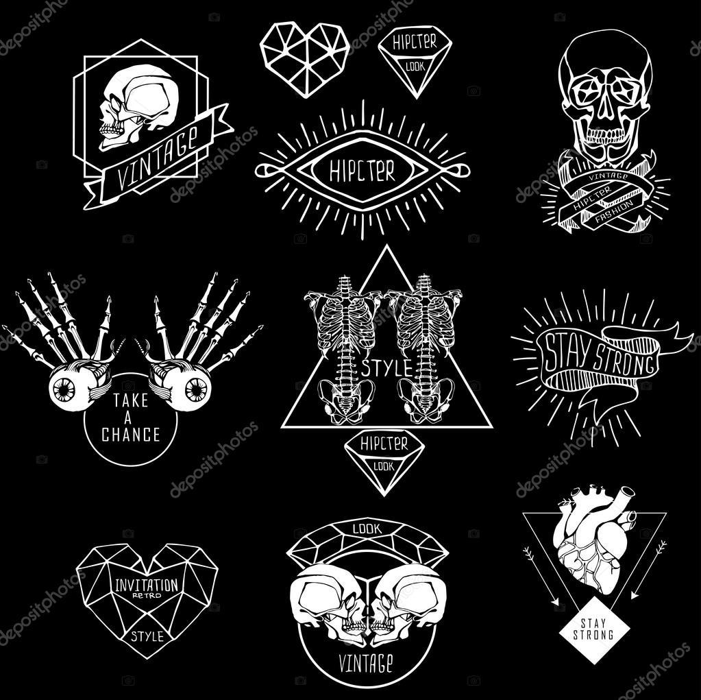 Conjunto de etiquetas con mano dibujar humanos — Vector de stock ...