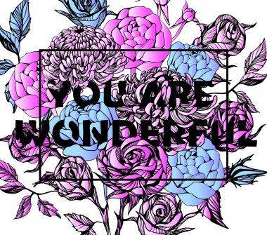 Quote Background with beautiful flowers. Typography background. Decorative floral elements clip art vector