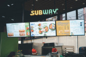 Bangkok, Thailand - January 9, 2021 : Exterior view of Subway Restaurant. It is one of the fastest growing franchises in the world.
