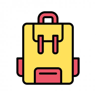 School Bag icon vector image. Can also be used for education. Suitable for use on web apps, mobile apps and print media. icon