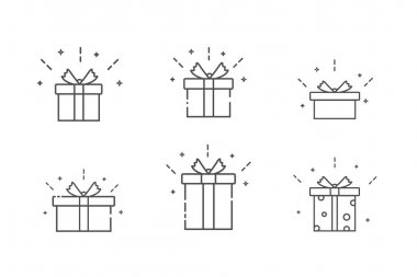 Gift box with ribbon line icon set. Linear style pictogram. Isolated vector illustration on white background. icon
