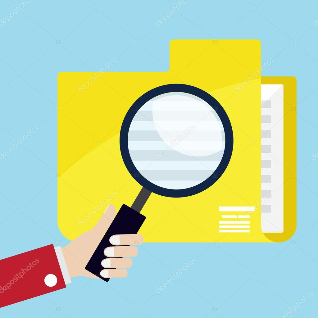 mano utilizar lupa vidrio para búsqueda de datos — Vector de stock ...