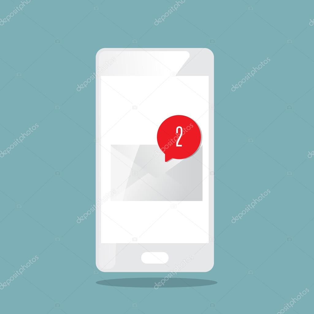 new message alert icon with smartphone stock vector
