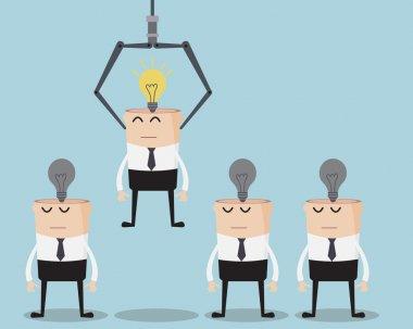 Choose Businessman One Have Bulb Idea On His Head