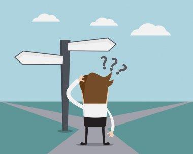 Businessman Confused On Crossroad