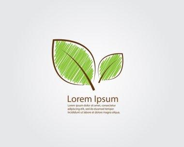 Green Leaf Sketch Style Logo,Green Eco Leaf Sketch Style Background Vector Illustration stock vector