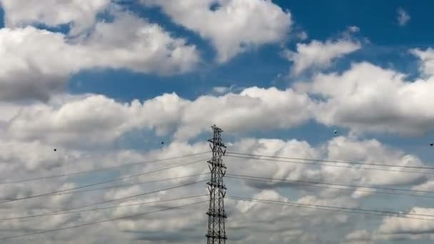 4K Time-lapse Electric Transmission Tower and Clouds moving