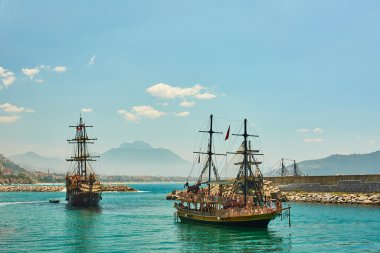 Fairy summer sea landscape with beautiful pirate ships