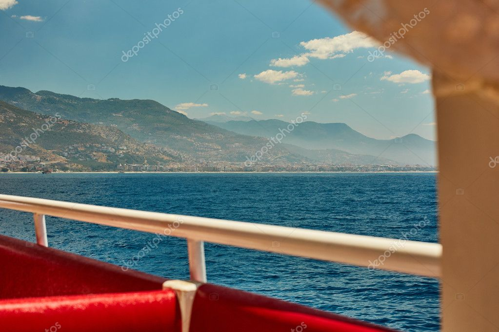 Stunning summer sea landscape with beautiful mountains