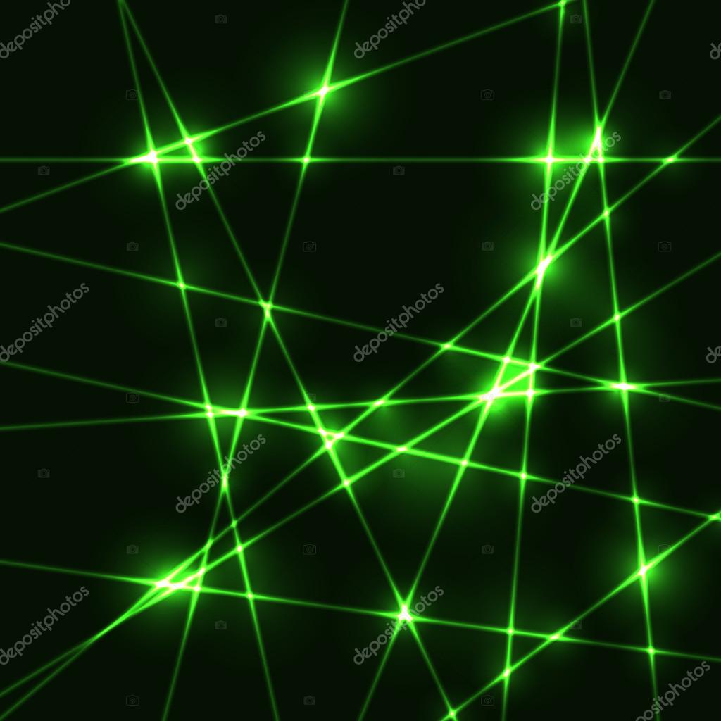 Random green laser beams on dark background