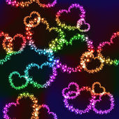Fotografie Schwarzer Hintergrund mit hellen Farbe Herzen
