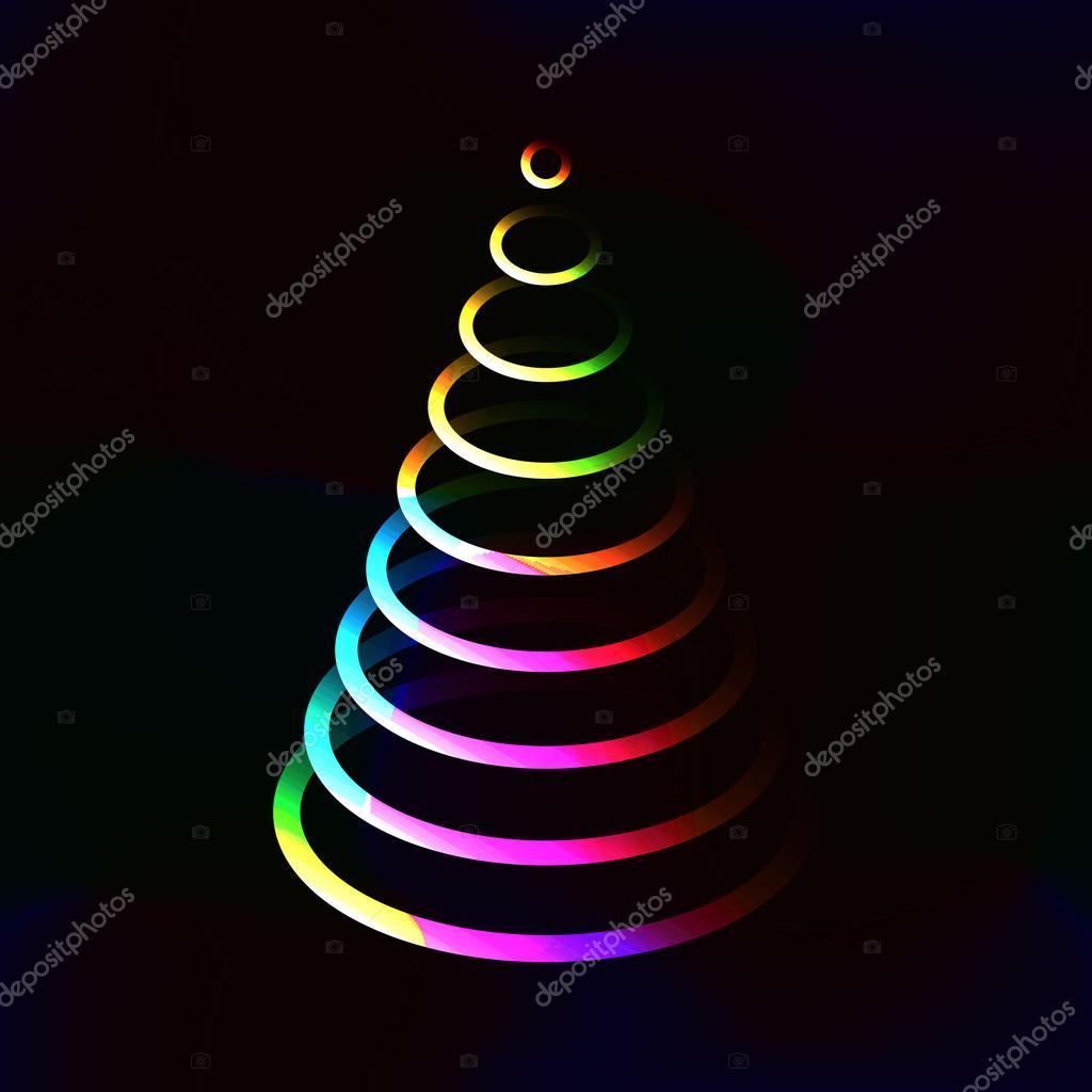 Luces de color neón brillante árbol de Navidad hecho de capas de ...