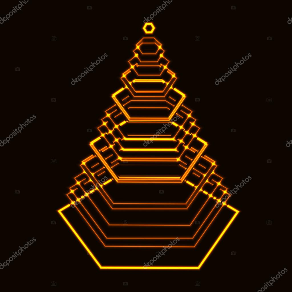 Laser gold shining tech xmas tree made from hexagon with layers