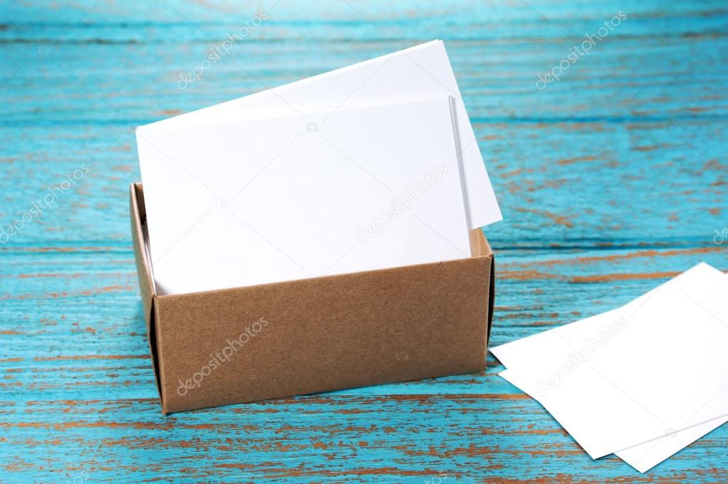 Business Cards In Brown Paper Box On Wood Desk Image De Myshot