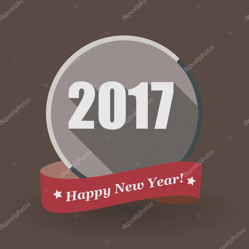 Happy New Year 2017 flat label