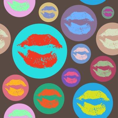 Woman lips pattern in Pop Art style