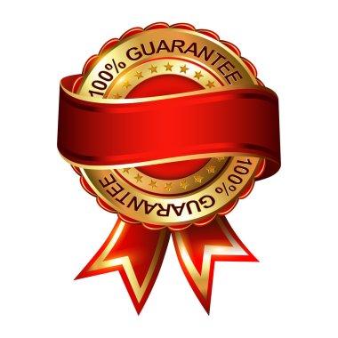 Empty Guarantee golden label with ribbon. Vector illustration. clip art vector