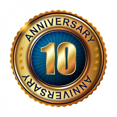 10 years anniversary golden label.