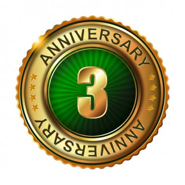 3 years anniversary golden label.
