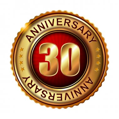 30 years anniversary golden label.