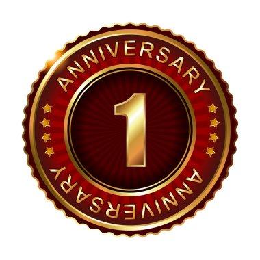 1 years anniversary golden label.