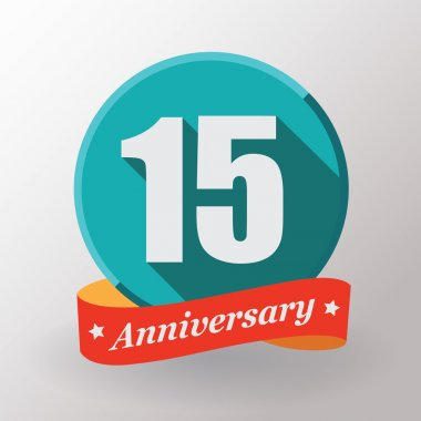 15 Anniversary label with ribbon