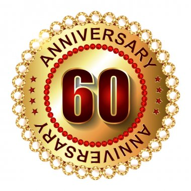 60 Years anniversary golden label.