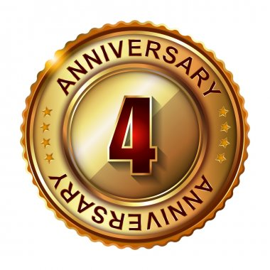 4 Years anniversary golden label.