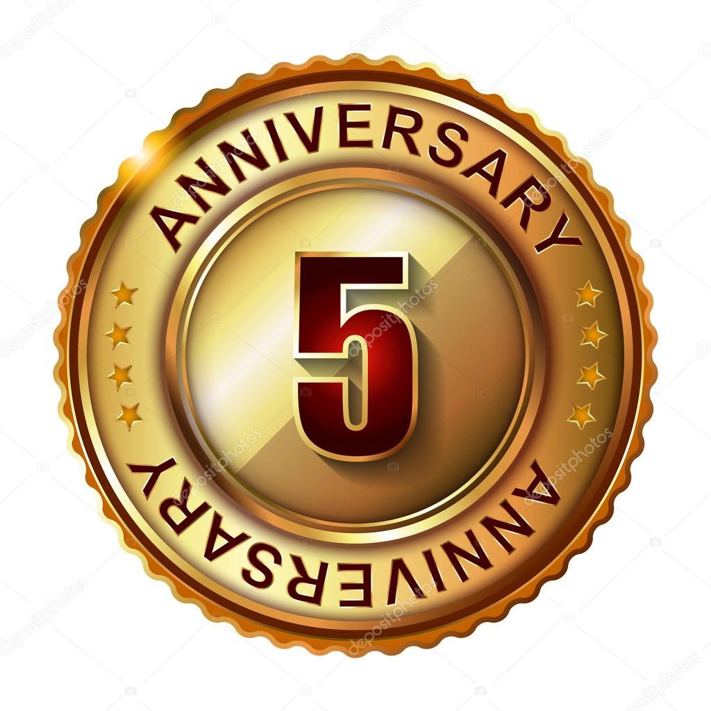 5 years anniversary golden label stock vector for 20 images