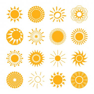 Sun icons set for computing web and app. stock vector