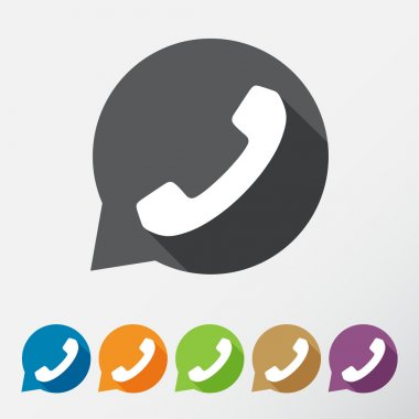 Phone icons set in speech bubbles clip art vector