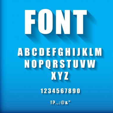3d font on blue