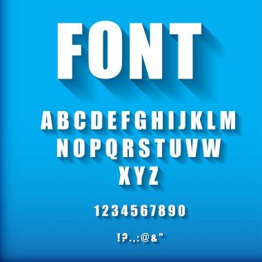 3d font on blue