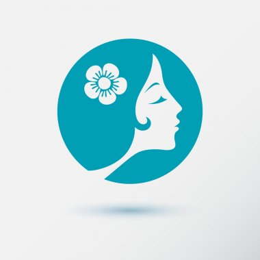 The woman fashion icon or logo with flower. Flat design. Contour lines. Vector illustration clip art vector