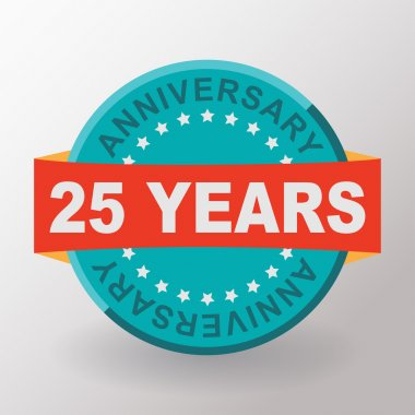 25 years anniversary label with ribbon