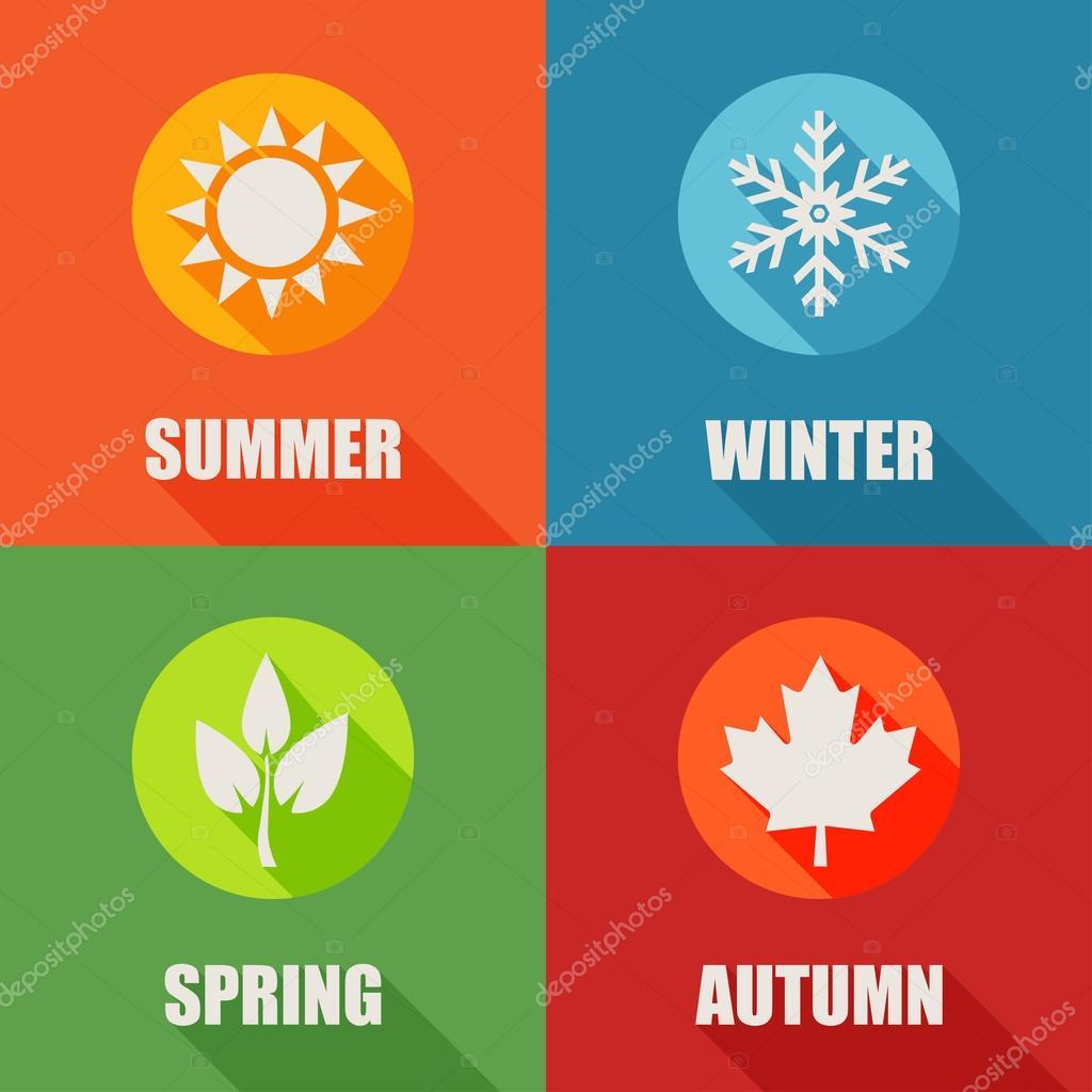 Season flat icons set