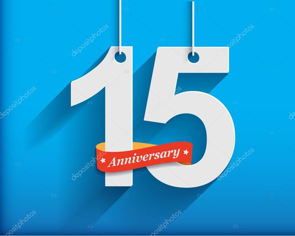 15 Anniversary numbers with ribbon