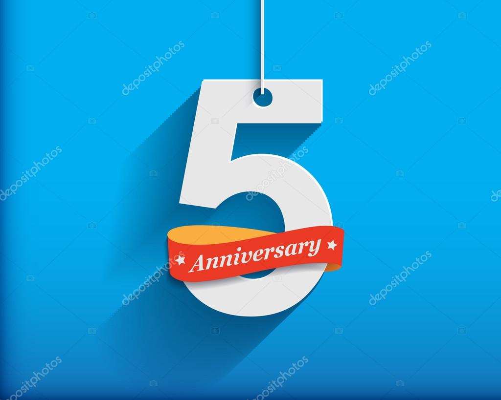 5 Anniversary numbers with ribbon