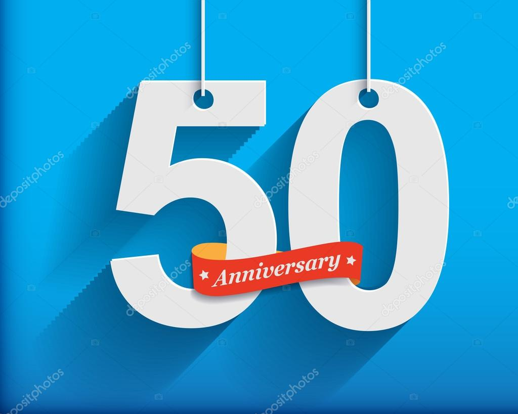 50 Anniversary numbers with ribbon