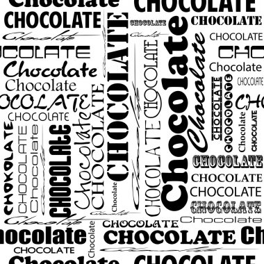 Seamless chocolate pattern with word of chocolate