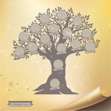 Hand drawn oak family tree