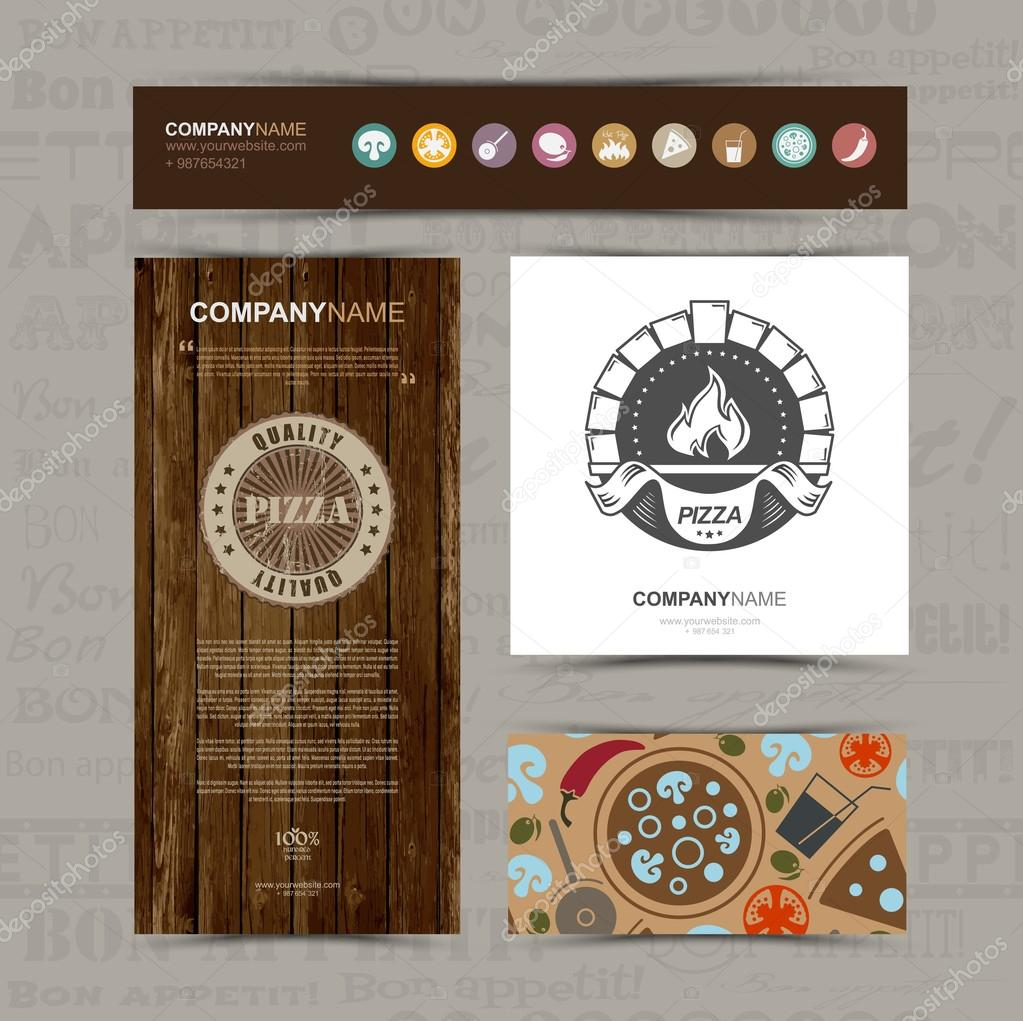 Template of identity for Pizza restaurant — Stock Vector ...