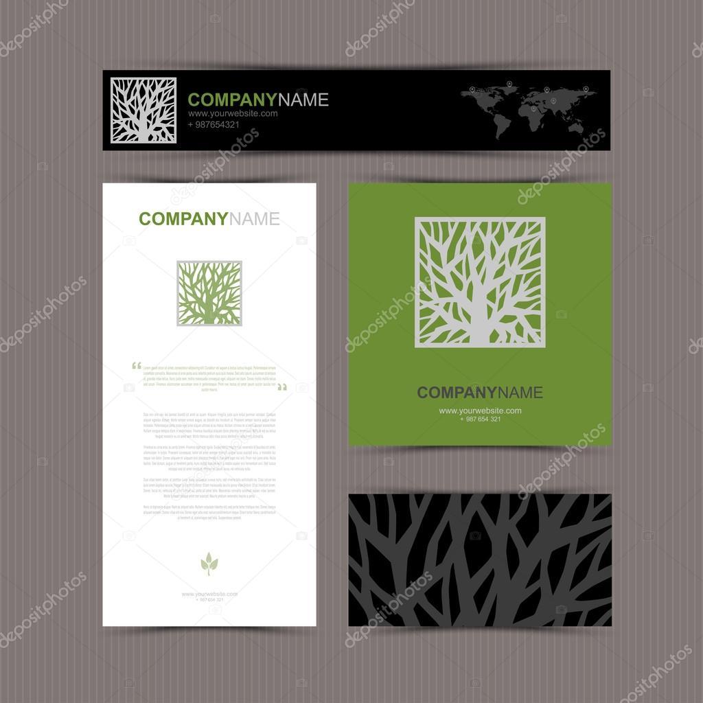 Modle De Cartes Visite Avec Arbre Stylis Logo Bel Illustration Vectorielle Fond Carte Bannire Et Le Patron Vecteur Par GalaStudio