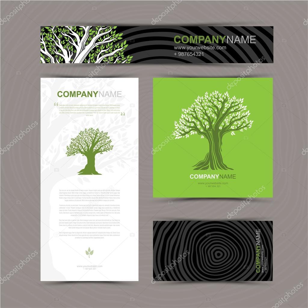Visitenkarten-Vorlage mit stilisierten Baum — Stockvektor ...