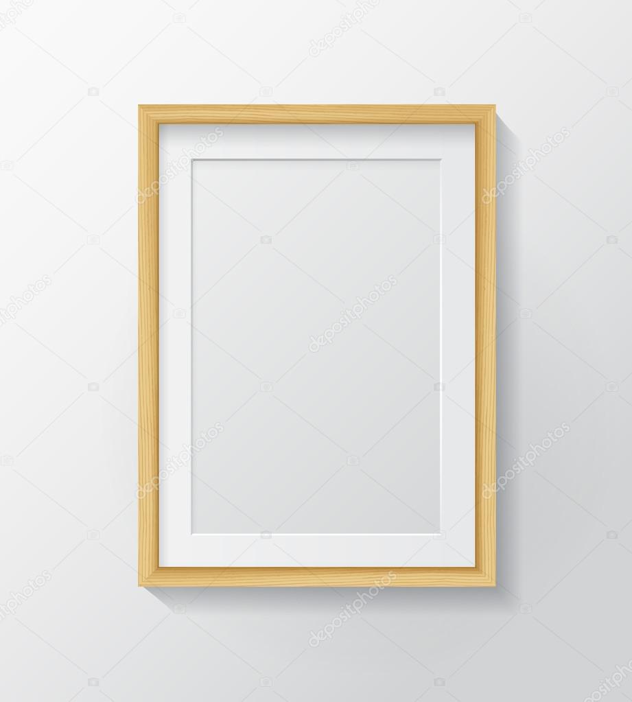 Light Wood Blank Picture Frame — Stockvector © GalaStudio #91742036