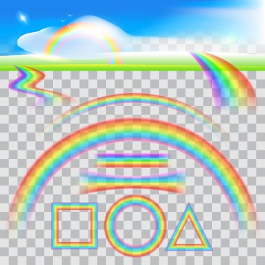 Set of Different Shapes of Realistic Rainbows